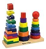 Melissa & Doug Geometric Stacker - Wooden Educational Toy