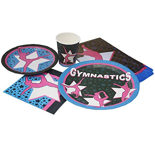 Blue Orchards Gymnastics Deluxe Party Packs (70 Pieces 16 Guests!), Gymnast Birthday Supplies, Gymnast Competition Supplies, Tableware