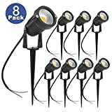ZUCKEO 5W LED Landscape Lights 12V 24V Waterproof Garden Path Lights Warm White Walls Trees Flags Outdoor Spotlights with Spike Stand (8 Pack)