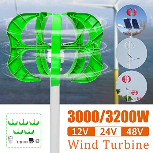 Raenhero 3200W / 3000W Wind Turbine 5 Blade Generator 12/24 / 48V Lantern Vertical Wind Turbine Shaft for Home Street Light + Controller,48v,3000W