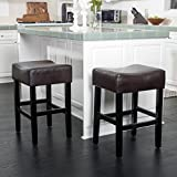 Cheap Christopher Knight Home 295961 Adler (Set of 2) Brown Leather Backless Counter Stool