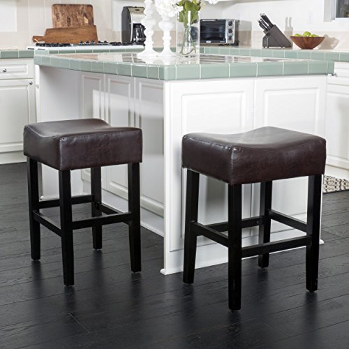 Christopher Knight Home 295961 Adler (Set of 2) Brown Leather Backless Counter Stool