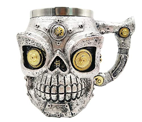 Viking Horned Demon Warrior Skull With Battle Helmet Mug Beer Stein Tankard Coffee Cup