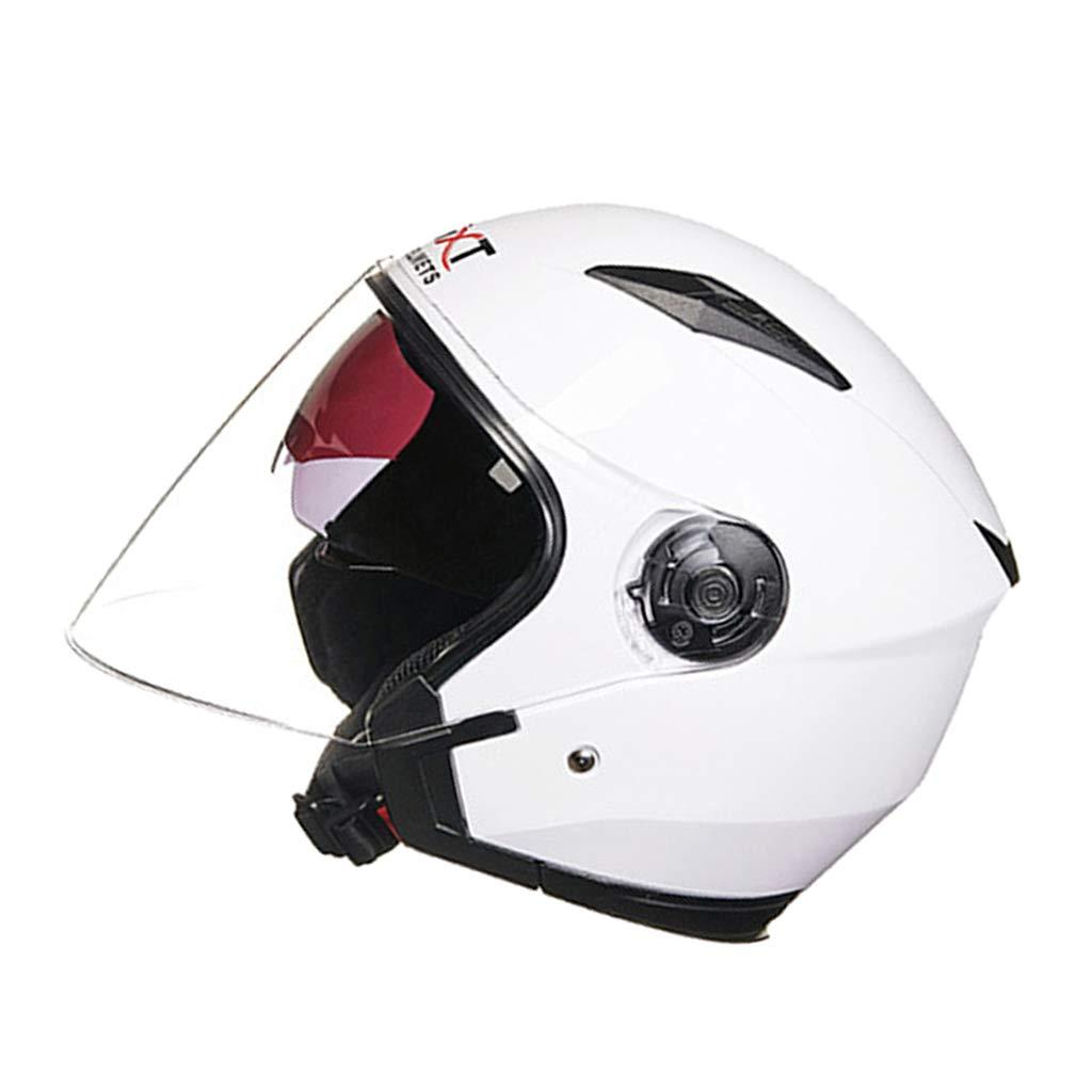 Blanca l Almencla Doble Visera Casco de Moto Protecci/ón UV Media Cara para Mujeres Hombres