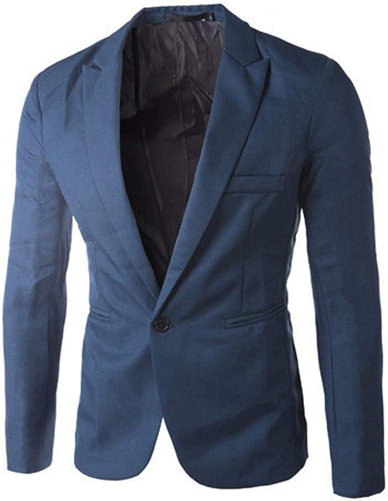 Amlaiworld Uomo Moda Casual Slim Fit Un Pulsante Tuta Giacca Blazer Cappotto