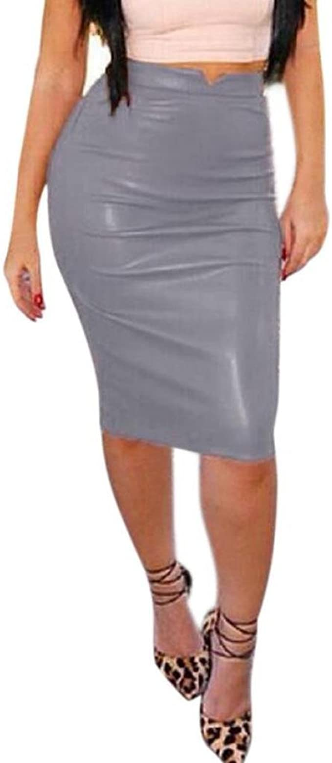 Sixcup Jupe Cuir Femme Vintage Madi Jupe Courte pour Femme Simili PU Cuir Crayon Jupe Taille /élastique Moulante Extensible Effet mouill/é