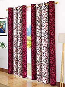 Story at Home Door Curtain, Maroon, 118 x 215 cm, DGY2003, 2 Pieces
