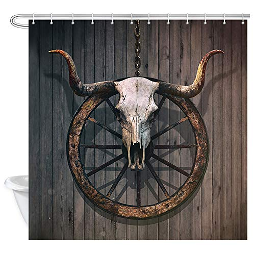 Western Shower Curtain Bull Skull, Long Horned Bull Skull and Old Barn Wood Wagon Wheel on Rustic Wooden Wallpaper Bath Curtains, Fabric Shower Curtain for Bathroom Accessories 12PCS Hooks, 69X70 In -