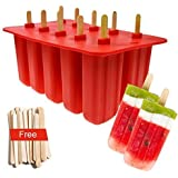 Xmifer BBM01 Popsicle Molds Food Grade Silicone Frozen Ice Cream Maker with Wooden Sticks, Set of 10 Pop, Red