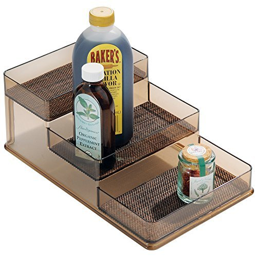 mDesign Spice Rack, Organizer for Kitchen Pantry, Cabinet, Countertops - Bronze/Sand