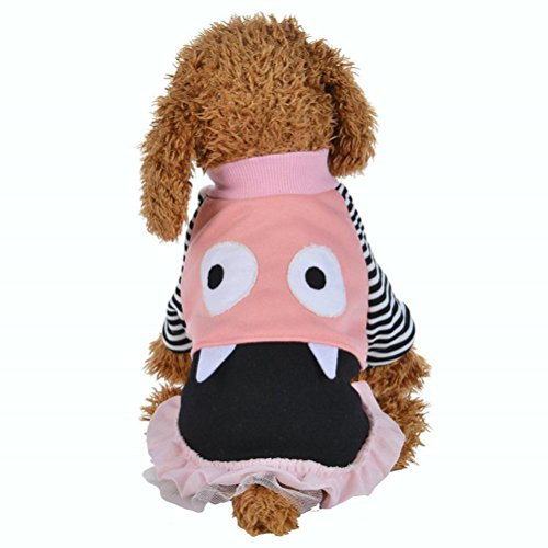 Kim88 Dog Puppy Pet Cute Big eyes facial expression Dresses Skirt T-shirt (pink, - Facial Big