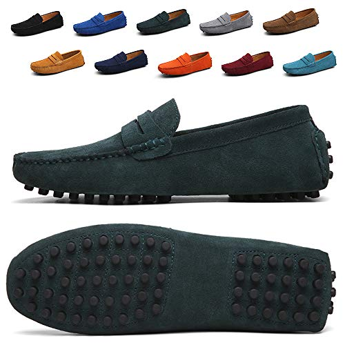 - Ezkrwxn Men Penny Loafers Slip on Shoes Suede Leather Moccasins Driver Driving Shoes Fashion Office Business Casual Dress Shoes Plus Big Size Sneakers DarkGreen Size 12.5 (2088-Darkgreen-47)