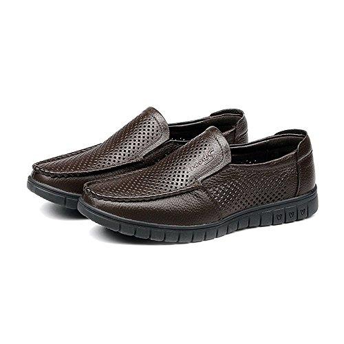 Shufang los Genuino shoes Marron para Zapatos Loafer Superior clásicos Color de tamaño Mocasines Negro EU 2018 Piso Soft Slip 42 Suela Oscuro Cuero on Zapatos Hombre Transpirable Perforation Hombres rr8qdwy6