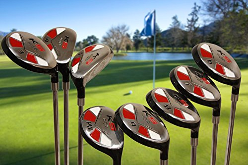 "Tall Senior Golf Hybrids Big +1'' Longer Than Standard Length (Plus One Inch Longer) Set All Complete Full Set, Which Includes: #3, 4, 5, 6, 7, 8, 9, Pw Senior Flex Right Handed New Rescue Utility ""A"" Flex Club by Majek K5 Senior All True Hybrid Set (Image #1)"