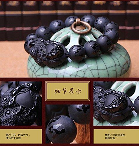 KOREA-JIAEN Pixiu Brecelet 16mm Natural Obsidian Bead Brecelet Bangle (16mm Bead, A) by KOREA-JIAEN (Image #9)