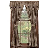 New IHF Home Decor Star Black Pattern Panel Window Treatments 100% Cotton Material 72 X 63 Inches Panels