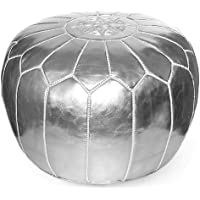 IKRAM DESIGN Moroccan Pouf, Silver, 20-Inch by 13-Inch