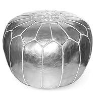 IKRAM DESIGN Moroccan Pouf, Silver, 20-Inch by 13-Inch