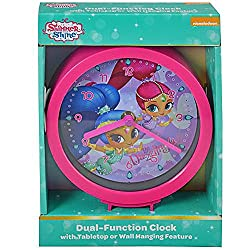 Shimmer and Shine Dual-Function Clock with Tabletop or Wall Hanging Feature