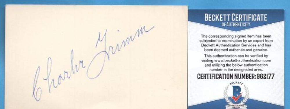 CHARLIE GRIMM CHICAGO CUBS SIGNED 3X5 INDEX CARD BECKETT