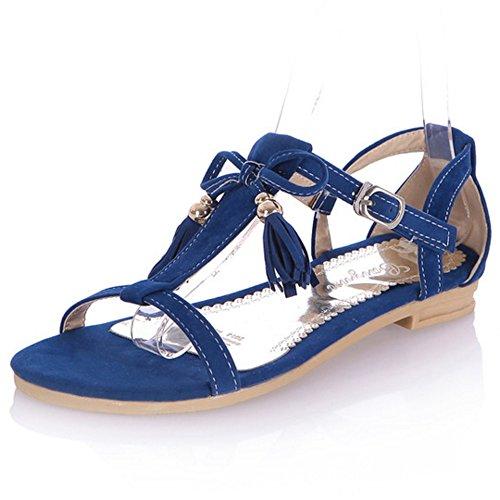 LongFengMa Fashion Women Fringe Flats Sandals for Sweet Dress Blue vlMgJmeYn