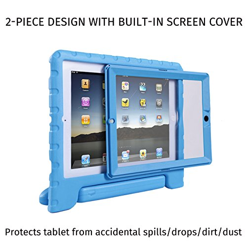 HDE Case for iPad 2 3 4 Kids Shockproof bumper Hard Cover Handle Stand with Built in Screen Protector for Apple iPad 2nd 3rd 4th Generation (Blue)