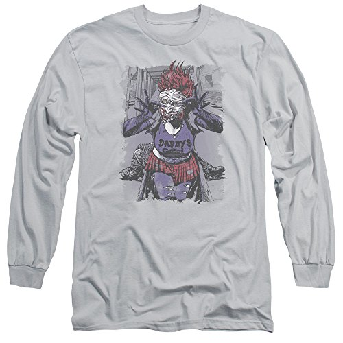 JLA Jokers Daughter Unisex Adult Long-Sleeve T Shirt for Men and Women, Small Silver