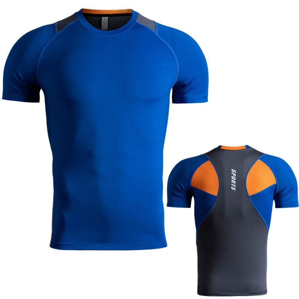 XIAOBAO Männer mit Compression Fit, Laufsportbekleidung, schnell trocknenden Stretch-Strumpfhosen, Kurzarm-T-Shirt für den Außenbereich, Sport-T-Shirt für Männer