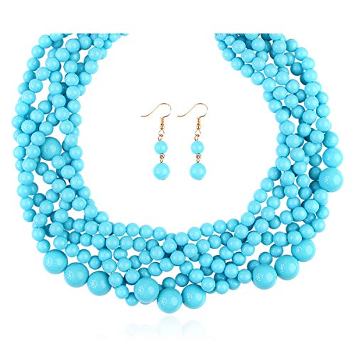 RIAH FASHION Braided Chunky Cluster Bead Bubble Statement Necklace - Multi Strand Twisted Colorful Twisted Ball Hammock Bib Collar (Twisted Bauble - Light Blue)]()