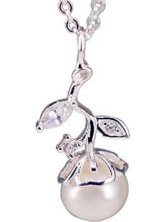 ba2bf1da60ef NicoWerk Silberkette mit Anhänger Knospe Perle Blume Süßwasserperle  Zirkonia Halskette Damen 925 Silber Kette Schmuck Sterling