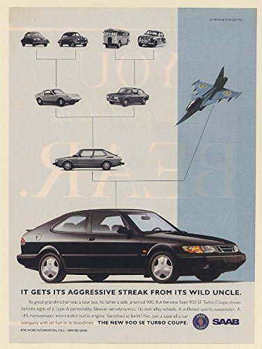 Saab 900 Coupe (1994 Saab 900 SE Turbo Coupe Gets Its Aggressive Streak from Wild Uncle Jet Print Ad (69056))