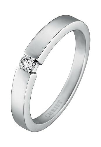 Weißgold ring damen  CHRIST Diamonds Damen-Ring 333er Weißgold 1 Diamant ca. 0,10 ct ...
