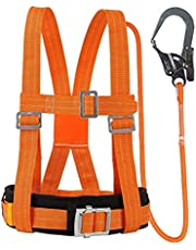 Safety Harness Kits, Safety Fall Arrest Harness, 5-Point Harness And Adjustable Waist Belt with Hook for Lanyard Safety Protection Fall Arrest Aerial Work Full,3m