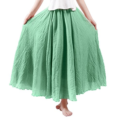 Women's Weekend Skirts Ankle Length Maxi Skirt Linen Solid Color Long Skirt Fruit (Green Linen Skirt)