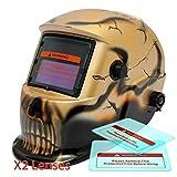 Proelectirc® Gold Skull #3 Professional Auto Darkening Solar Powered Welders Welding Helmet Mask With Grinding Function