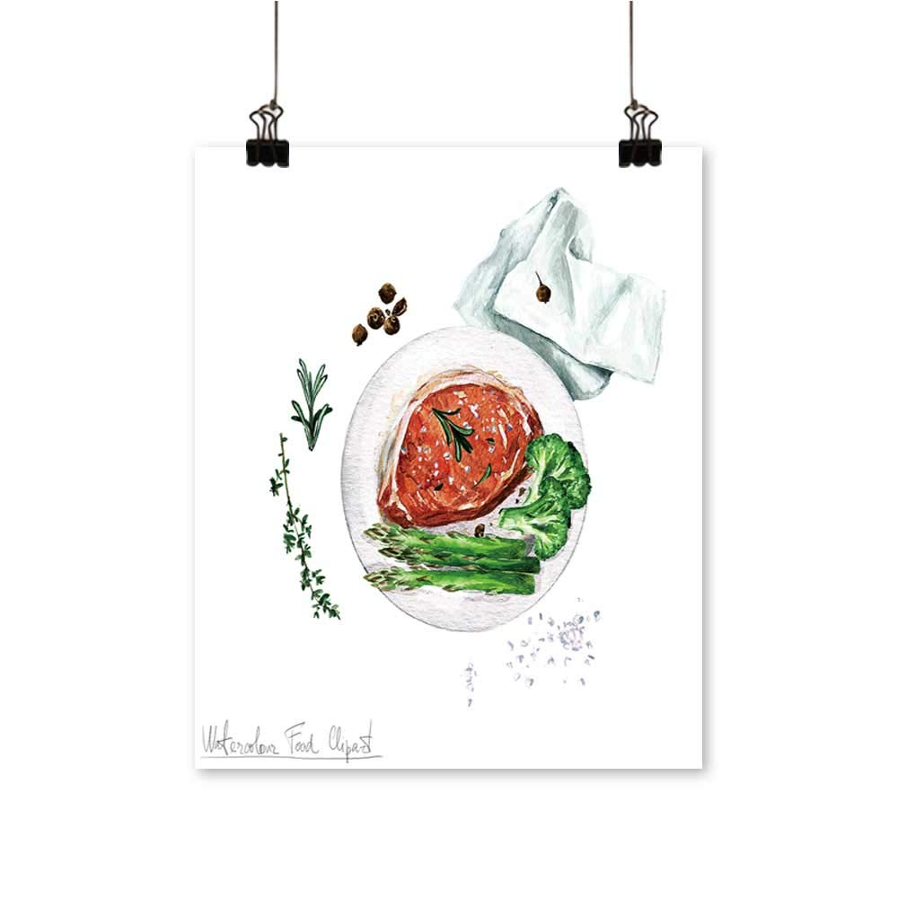 Artwork for Office Decorations Foo Clipart Pork chop Canvas Living Room,28''W x 52''L/1pc(Frameless) by painting-home