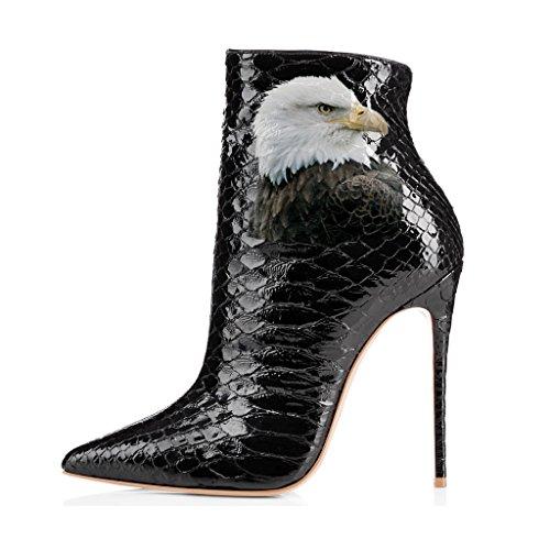 Fsj Donna Scarpe A Punta Stivaletti Lucidi Tacchi A Spillo Stiletti Con Stampe Floreali Scarpe Taglia 4-15 Us Black Eagle Snake