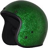 Daytona Metal Flake D.O.T. Approved 3/4 Shell Cruiser Motorcycle Helmet - Green / Medium