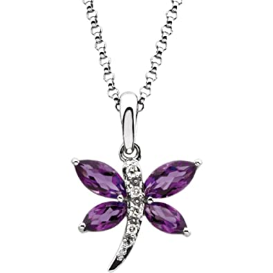 Amazon 14k white gold diamond amethyst dragonfly pendant 18 14k white gold diamond amethyst dragonfly pendant 18quot necklace aloadofball Gallery