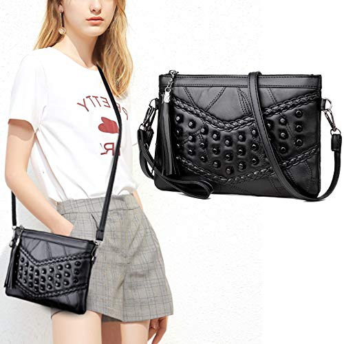 CHIC DIARY Women Leather Studded Crossbody Bag with Tassel Top Zipper Rivets Shoulder Bag Clutch Purse