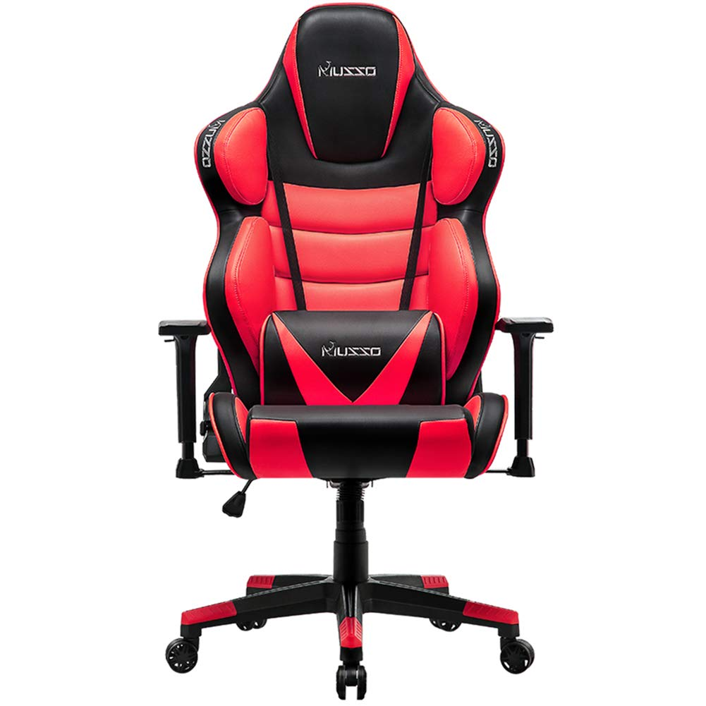 Musso Big & Tall (Red) Gaming Chair Adults Racing Computer Gamer Chair with Fully Foam, Esports Video Game Chair, PU Leather Executive Office Chair with Lumbar Support