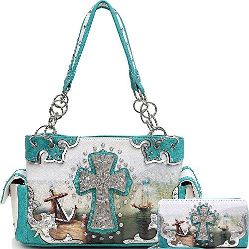 Cowgirl Trendy Western Cross Anchor Ship Helm Sea Starfish Purse Handbag Shoulder Bag Wallet Set Turq - Cross Turq