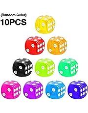 iBàste - 10 Colores Transparentes para Juegos de Dados de 6 Caras, Dados estándar y Otros Juegos de Casino de 16 mm