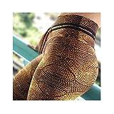 KnSam Sportswear Athletic Pants Polyester Simulation Woolen Pattern Brown Hip Yoga Pants S
