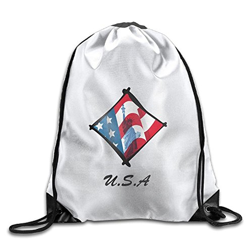American Flag Statue Of Liberty-clipart Cool Gym Drawstring Bags Travel Backpack Tote School Rucksack ()