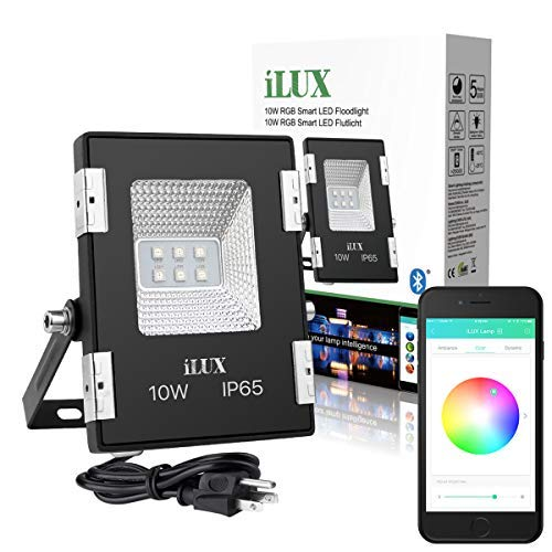 LE iLUX Smart LED Flood Light, Outdoor Plug in, 10W RGB, Dimmable, IP65 Waterproof, Bluetooth Remote Control for iOS and Android, Color Changing with Music, Floodlight for Home, Garden, Balcony, Tree