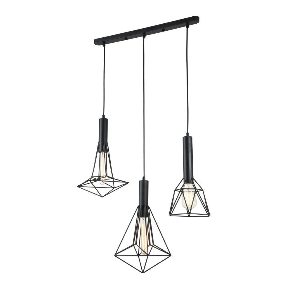 Contemporaine lampe suspension Industrie style, en métal noir, 3ampoules, excl. E273x 60W, 220–240V [Classe énergétique A++] 220-240V Maytoni GmbH