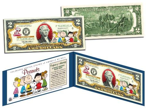 PEANUTS * Charlie Brown & Gang * Legal Tender U.S. $2 Bill * LICENSED * (Peanut Coin Bank)