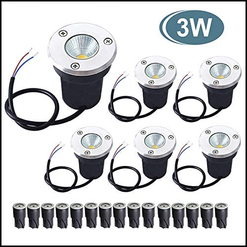 LED Landscape Lights Aponuo 3W LED Ground Lights Low Voltage In Ground Well Lights Pathway Lights IP67 3000K, with IP68 Waterproof Wire Connector for Driveway, Deck, Step, Garden Lights 6 Packs