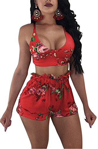 (Molisry Women Sexy Spaghetti Strap Floral Print Crop Top Short Pants Jumpsuits 2 Piece Outfits)